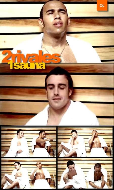 Alonso y Hamilton juntos al Sauna