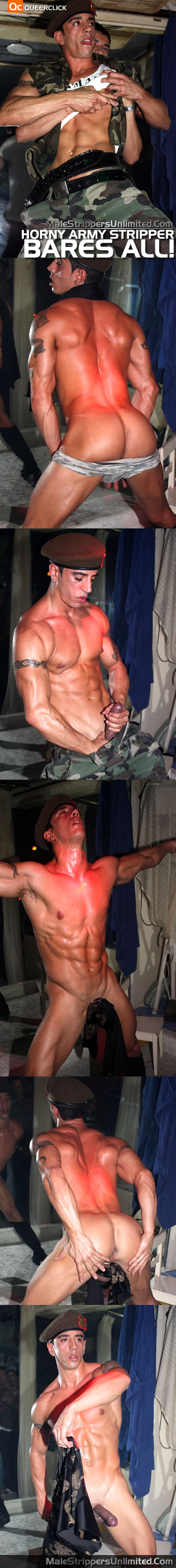 Male Strippers Unlimited: Horny Army Stripper Bares