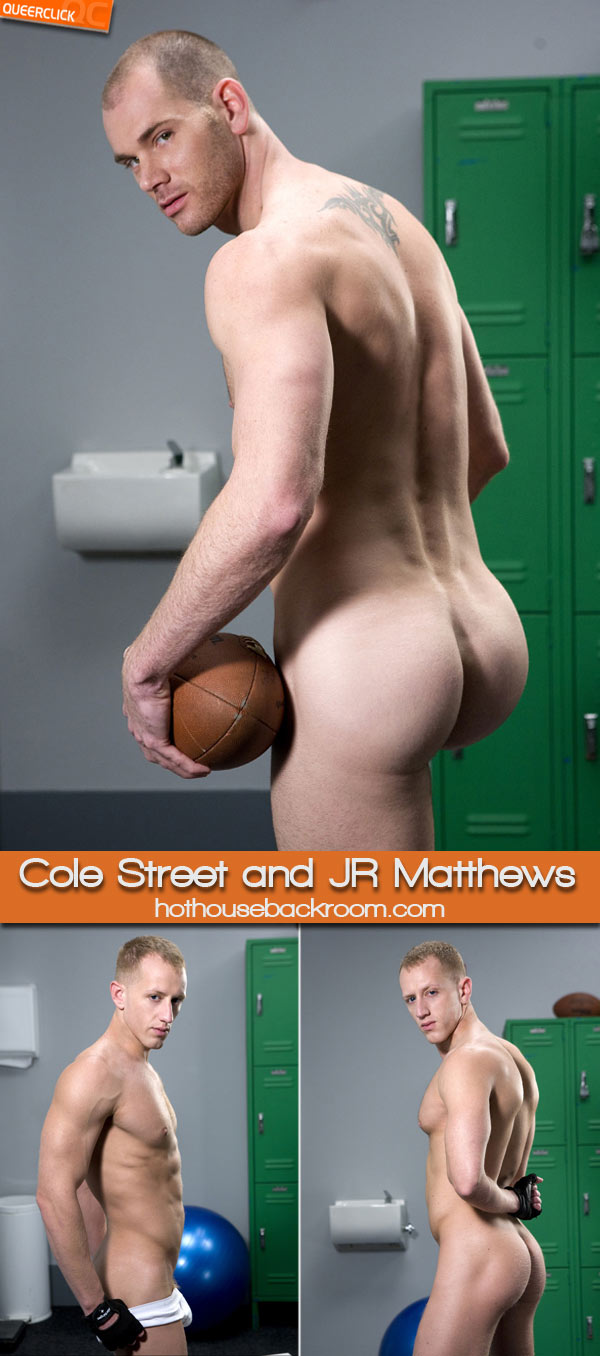 hot house backroom cole street jr matthews Cole Streets spies a giant dildo hanging out of JR Matthews' gym bag.