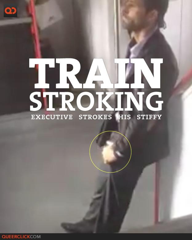 Guy strokes his hard cock on train