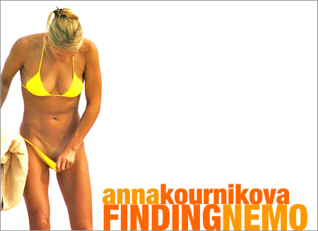 Anna Kournikova vs. Yellow Bikini. Anna Kournikova searches for something