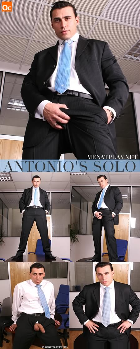 Antonio shows off his package through his expensive suit
