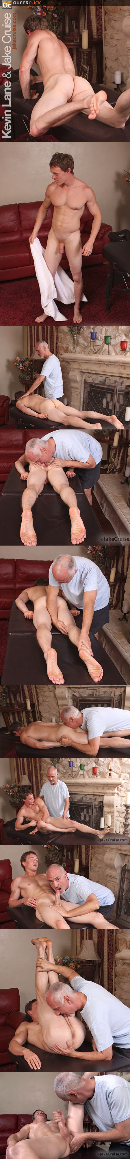 Jake Cruise massages Kevin Lane
