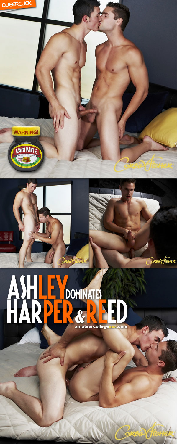 Amateur College Sex: Ashley Dominates Harper and Reed