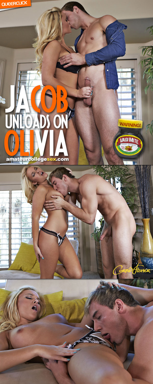 Amateur College Sex: Jacob Unloads On Olivia