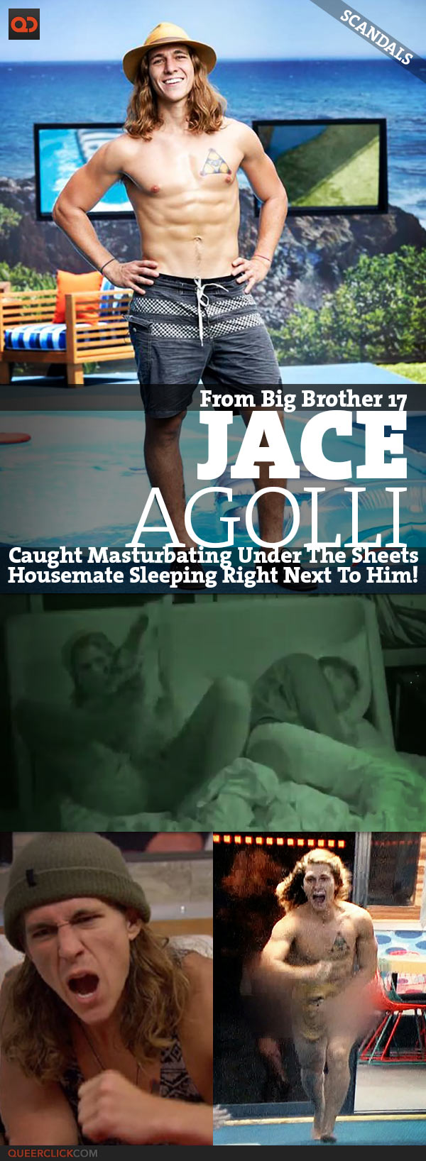 QC Scandals: Jace Agolli, From Big Brother 17, Caught Masturbating Under The Sheets While Housemate Was Sleeping Next To Him!