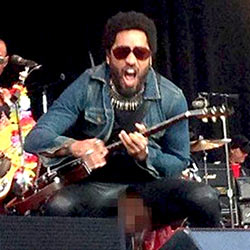 QC Scandals: Lenny Kravitz Wardrobe Malfunction On Stage Exposed His Cock!