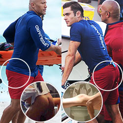 Zac Efron And Dwayne Johnson Had A Butt Showdown On The Set Of Baywatch – Who Filled Those Red Shorts Better?