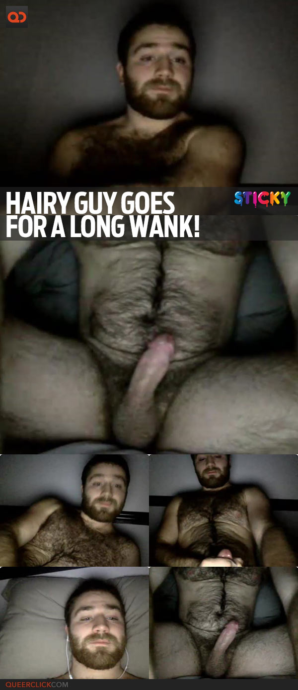 Hairy Guy Goes For A Long Wank!