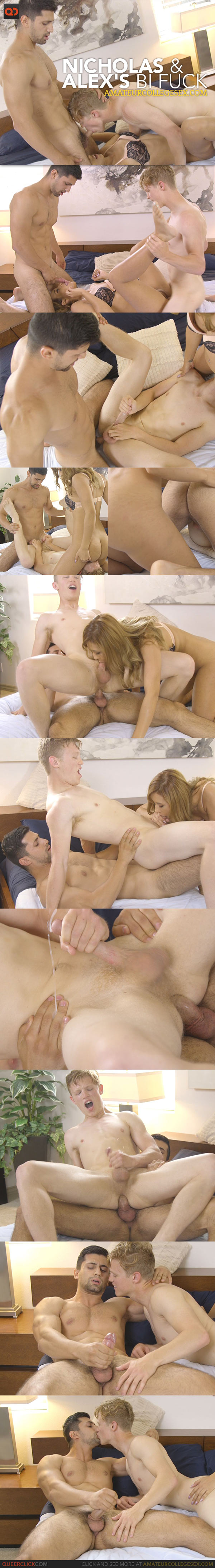 Amateur College Sex: Nicholas and Alex's Bi Fuck