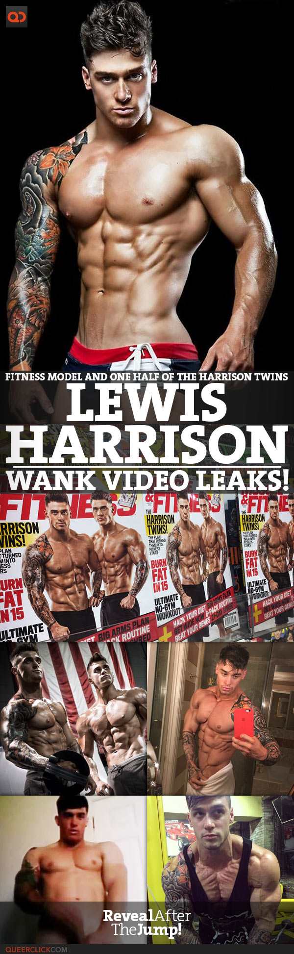 Lewis Harrison, Fitness Model And One Half Of The Harrison Twins, Wank Video Leaks!