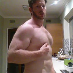 Beefy Guy Strokes His Cock In The Kitchen Sink!