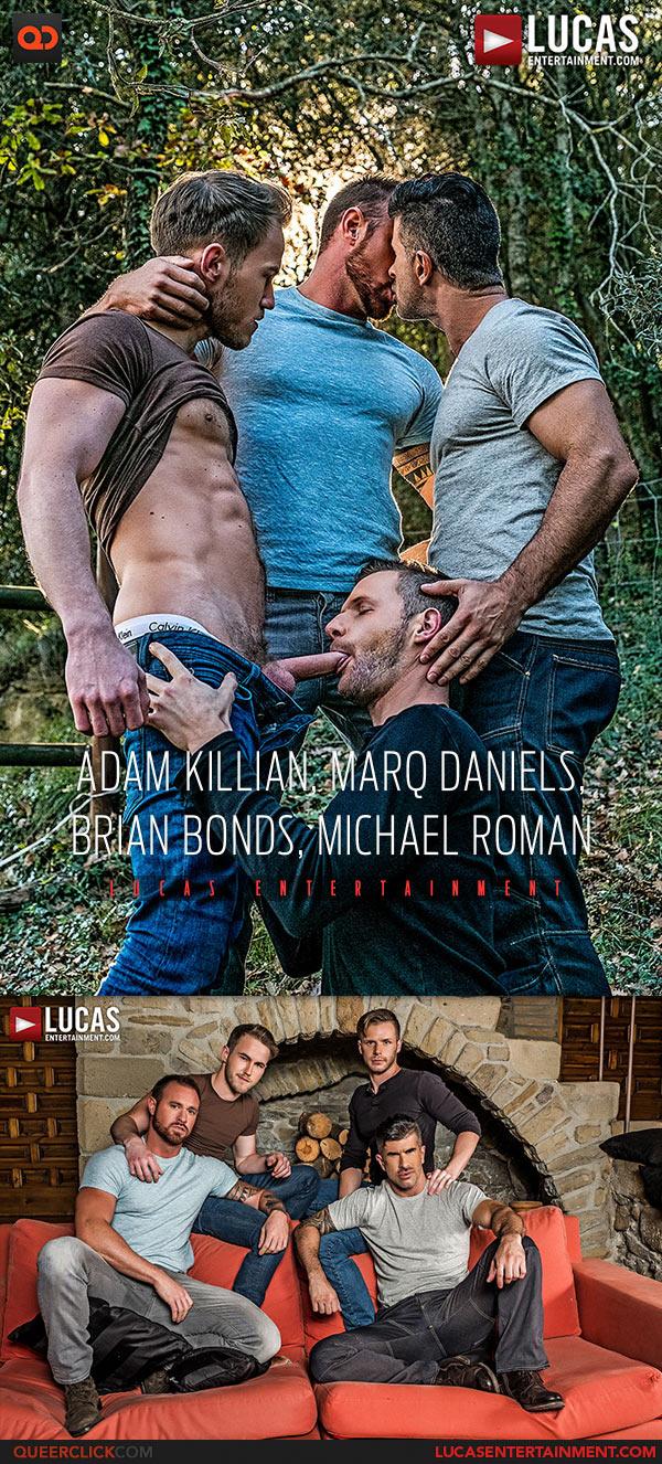 Lucas Entertainment: Adam Killian, Marq Daniels, Brian Bonds and Michael Roman Double Fuck - Bareback