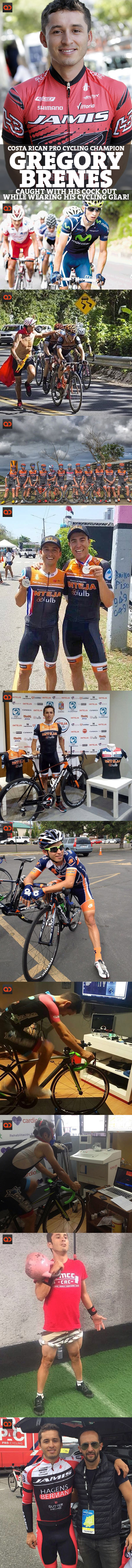 Gregory Brenes, Costa Rican Pro Cycling Champion, Caught With His Cock Out While Wearing His Cycling Gear!
