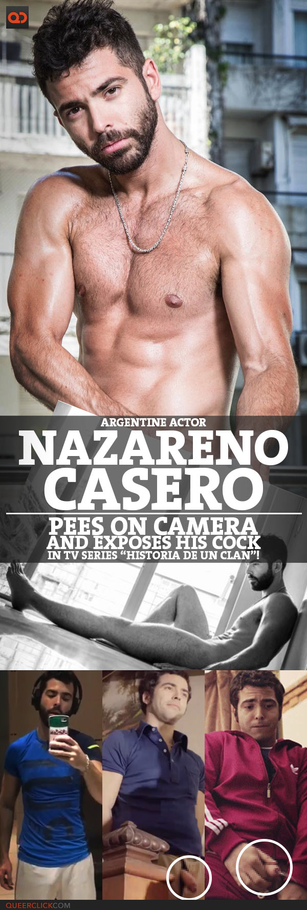 "Nazareno Casero, Argentine Actor, Pees On Camera And Exposes His Cock In Tv Series ""Historia De Un Clan""!"