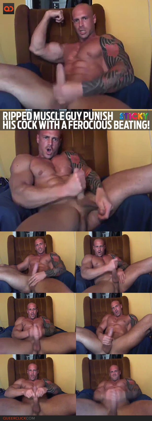 Ripped Muscle Guy Punish His Cock With A Ferocious Beating!