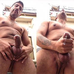 Daddy-Looking Guy Makes His Fat Cock Cum Buckets!