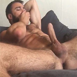 Bearded Wonder Strokes His Cock Using Spit For Lube!