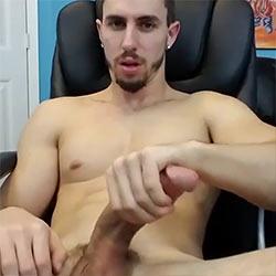 Hottie Milks His Curved Cock!