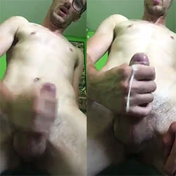 Nerdy Guy Strokes His Fat Uncut Cock!