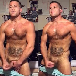 Beefy Guy Jerks Off While Standing In His Room!