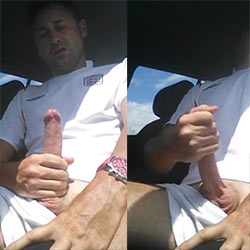 Sun-Soaked Wank Inside His Car!