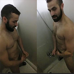 Manly Stud Strokes His Cock In The Shower!