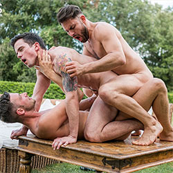Lucas Entertainment: Damon Heart and James Castle Tag Team Fuck Dakota Payne Bareback