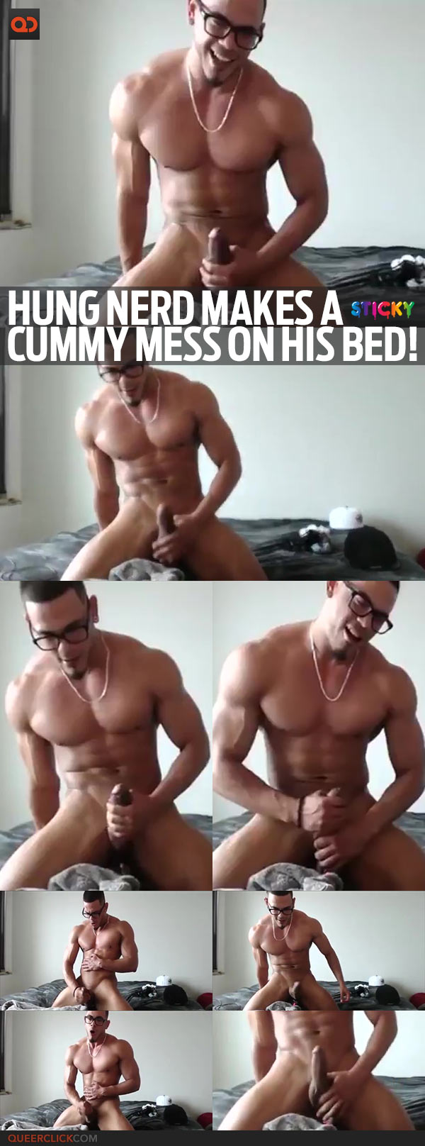 Hung Nerd Makes A Cummy Mess On His Bed!