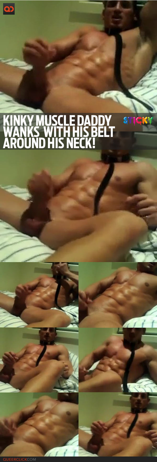 Kinky Muscle Daddy Wanks With His Belt Around His Neck!