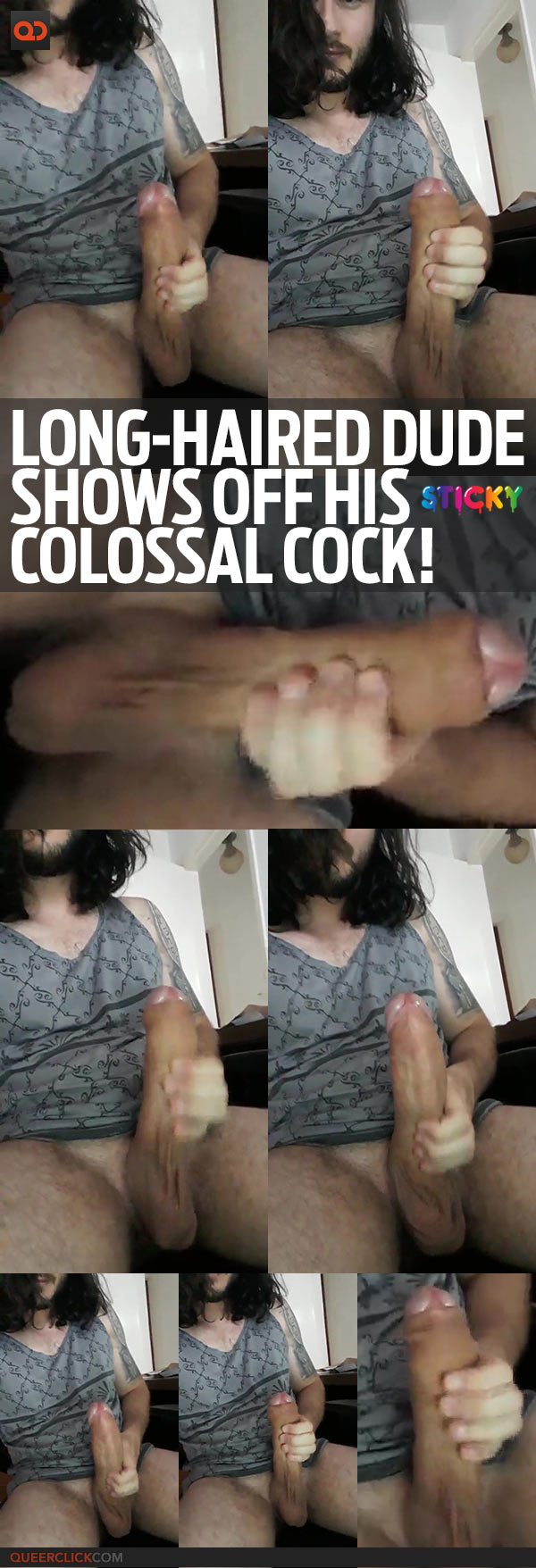 Long-Haired Dude Shows Off His Colossal Cock!