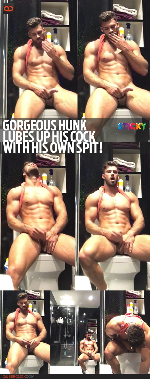 Gorgeous Hunk Lubes Up His Cock With His Own Spit!