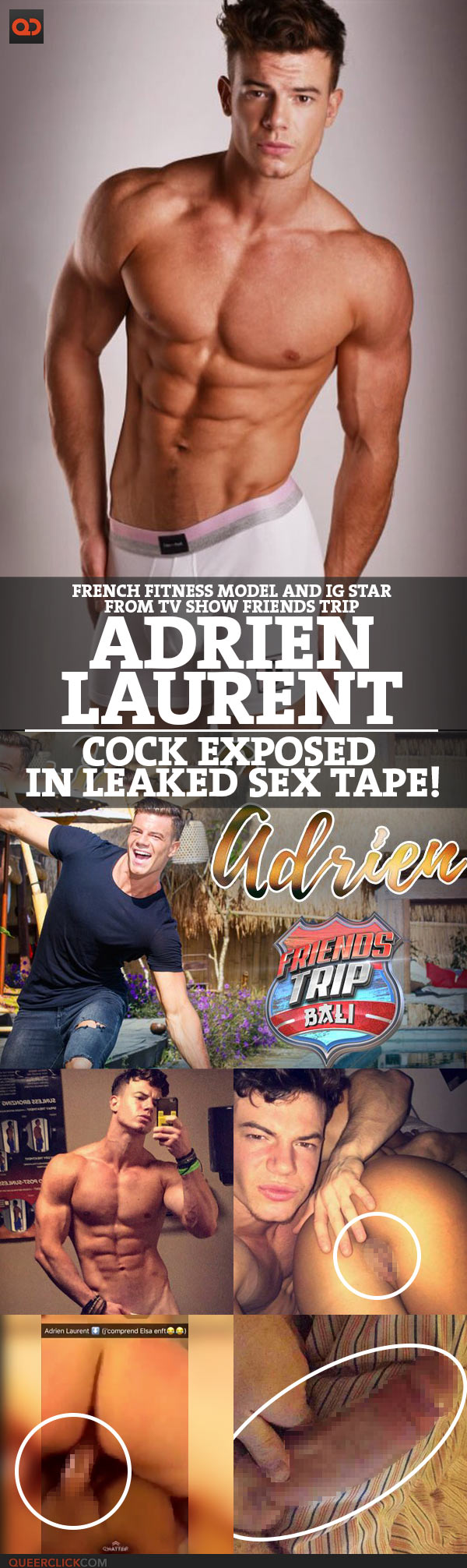 Adrien Laurent, French Fitness Model And IG Star From TV Show Friends Trip, Cock Exposed In Leaked Sex Tape!