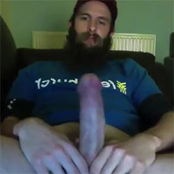 Bearded Guy Can't Control His Ultra Hard Cock!