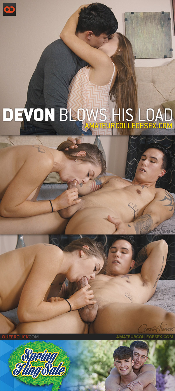 Amateur College Sex: Devon Blows His Load
