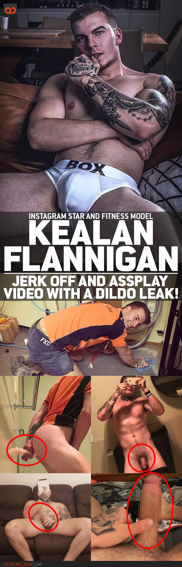 Kealan Flannigan, Instagram Star And Fitness Model, Jerk Off And Assplay Video With A Dildo Leak!