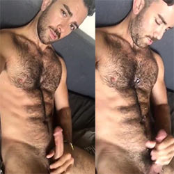 Hairy Hunk Cums On His Furry Abs!