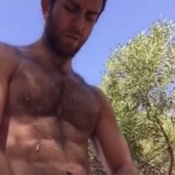 Furry Hunk Successfully Pulls It Off Outdoors!