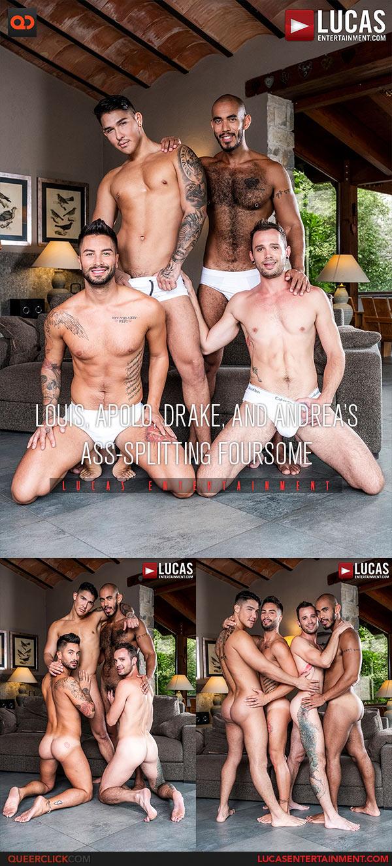Lucas Entertainment: Louis Ricaute, Apolo Fire, Drake Rogers and Andrea Suarez - Bareback Foursome