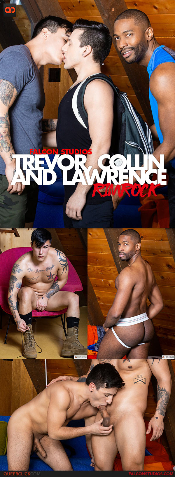 Falcon Studios: Trevor Miller, Collin Lust and Lawrence Portland Bareback Threesome - Rimrock