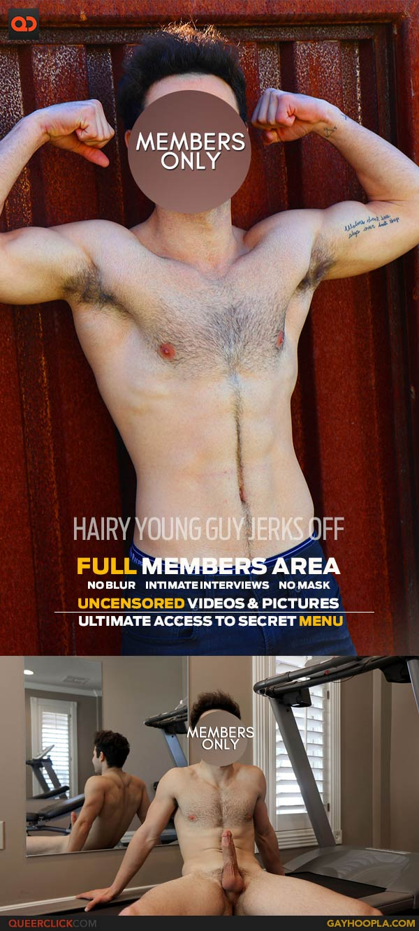GayHoopla: Hairy Young Guy Jerks Off