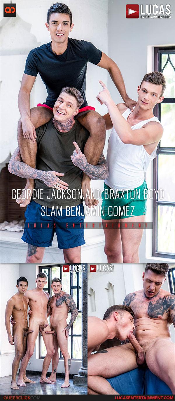 Lucas Entertainment: Geordie Jackson, Braxton Boyd and Benjamin Gomez - Bareback Threesome