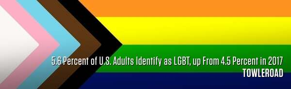 5.6 Percent of U.S. Adults Identify as LGBT, up From 4.5 Percent in 2017